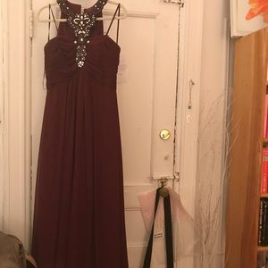 Maroon Cachet floor length gown with embellishment